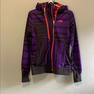 Small Purple Stripped North Face Zip Up Sweatshirt